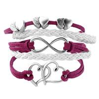 Bracelets - INFINITY BRACELETS SIDEWAYS HEART LOVE RED BRAIDED LEATHER ROPE BANGLE BRACELET alternate image 1.