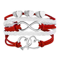 Bracelets - ICED OUT SIDEWAYS INFINITY OPEN HEARTS IN HEARTS RED WHITE BRAIDED LEATHER ROPE BRACELET alternate image 1.