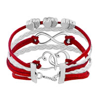 Bracelets - ICED OUT SIDEWAYS INFINITY OPEN HEARTS IN HEARTS RED WHITE BRAIDED LEATHER ROPE BRACELET alternate image 2.