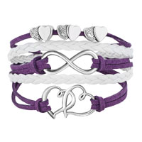 Bracelets - ICED OUT SIDEWAYS INFINITY OPEN HEARTS IN HEARTS PURPLE WHITE BRAIDED LEATHER ROPE BRACELET alternate image 1.