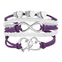 Bracelets - ICED OUT SIDEWAYS INFINITY OPEN HEARTS IN HEARTS PURPLE WHITE BRAIDED LEATHER ROPE BRACELET alternate image 1.