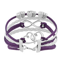 Bracelets - ICED OUT SIDEWAYS INFINITY OPEN HEARTS IN HEARTS PURPLE WHITE BRAIDED LEATHER ROPE BRACELET alternate image 2.