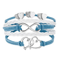 Bracelets - ICED OUT SIDEWAYS INFINITY OPEN HEARTS IN HEARTS OCEAN BLUE WHITE BRAIDED LEATHER ROPE BRACELET alternate image 1.