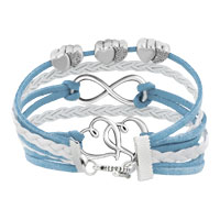 Bracelets - ICED OUT SIDEWAYS INFINITY OPEN HEARTS IN HEARTS OCEAN BLUE WHITE BRAIDED LEATHER ROPE BRACELET alternate image 2.