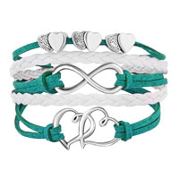 Bracelets - ICED OUT SIDEWAYS INFINITY OPEN HEARTS IN HEARTS GREEN WHITE BRAIDED LEATHER ROPE BRACELET alternate image 1.