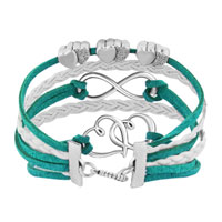 Bracelets - ICED OUT SIDEWAYS INFINITY OPEN HEARTS IN HEARTS GREEN WHITE BRAIDED LEATHER ROPE BRACELET alternate image 2.