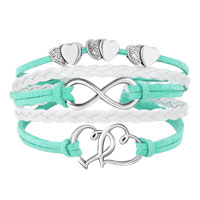 New Arrivals - ICED OUT SIDEWAYS INFINITY OPEN HEARTS IN HEARTS LIGHT GREEN WHITE BRAIDED LEATHER ROPE BRACELET alternate image 1.