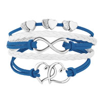 Bracelets - ICED OUT SIDEWAYS INFINITY OPEN HEARTS IN HEARTS DEEP BLUE WHITE BRAIDED LEATHER ROPE BRACELET alternate image 1.