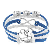 Bracelets - ICED OUT SIDEWAYS INFINITY OPEN HEARTS IN HEARTS DEEP BLUE WHITE BRAIDED LEATHER ROPE BRACELET alternate image 2.