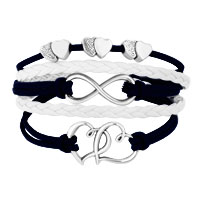 Bracelets - ICED OUT SIDEWAYS INFINITY OPEN HEARTS IN HEARTS BLUE WHITE BRAIDED LEATHER ROPE BRACELET alternate image 1.