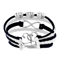 Bracelets - ICED OUT SIDEWAYS INFINITY OPEN HEARTS IN HEARTS BLUE WHITE BRAIDED LEATHER ROPE BRACELET alternate image 2.