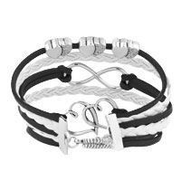 Bracelets - ICED OUT SIDEWAYS INFINITY OPEN HEARTS IN HEARTS BLACK WHITE BRAIDED LEATHER ROPE BRACELET alternate image 2.
