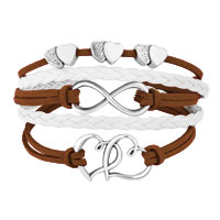 New Arrivals - ICED OUT SIDEWAYS INFINITY OPEN HEARTS IN HEARTS BROWN WHITE BRAIDED LEATHER ROPE BRACELET alternate image 1.