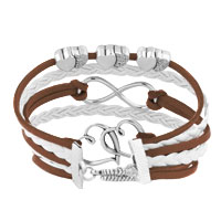 New Arrivals - ICED OUT SIDEWAYS INFINITY OPEN HEARTS IN HEARTS BROWN WHITE BRAIDED LEATHER ROPE BRACELET alternate image 2.