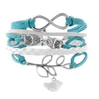 Bracelets - INFINITY BRACELETS OWL SIDEWAYS TREE OF LIFE OCEAN BLUE BRAIDED LEATHER ROPE BANGLE BRACELET alternate image 1.