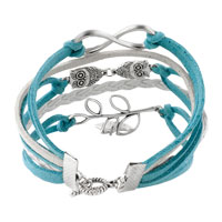 Bracelets - INFINITY BRACELETS OWL SIDEWAYS TREE OF LIFE OCEAN BLUE BRAIDED LEATHER ROPE BANGLE BRACELET alternate image 2.