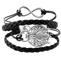 Bracelets - INFINITY BRACELETS SIDEWAYS HOOP ANIMAL HEAD BLACK BRAIDED LEATHER ROPE BANGLE BRACELET alternate image 1.