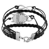 Bracelets - INFINITY BRACELETS SIDEWAYS HOOP ANIMAL HEAD BLACK BRAIDED LEATHER ROPE BANGLE BRACELET alternate image 2.