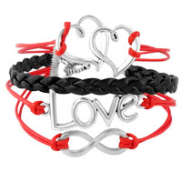 Bracelets - INFINITY BRACELETS SIDEWAYS HEART LOVE COLOR BRAIDED LEATHER ROPE BANGLE BRACELET alternate image 1.