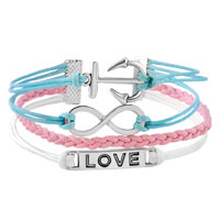 Bracelets - INFINITY BRACELETS ANCHOR SIDEWAYS LOVE COLOR BRAIDED LEATHER ROPE BANGLE BRACELET alternate image 1.