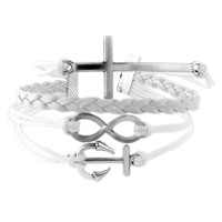 Bracelets - INFINITY BRACELETS ANCHOR SIDEWAYS CROSS WHITE BRAIDED LEATHER ROPE BANGLE BRACELET alternate image 1.