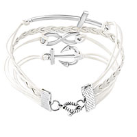 Bracelets - INFINITY BRACELETS ANCHOR SIDEWAYS CROSS WHITE BRAIDED LEATHER ROPE BANGLE BRACELET alternate image 2.