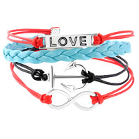 Man's Jewelry - NAUTICAL ANCHOR SIDEWAYS INFINITY BRACELETS LOVE COLOR BRAIDED LEATHER ROPE BANGLE BRACELET alternate image 1.