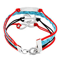 Man's Jewelry - NAUTICAL ANCHOR SIDEWAYS INFINITY BRACELETS LOVE COLOR BRAIDED LEATHER ROPE BANGLE BRACELET alternate image 2.