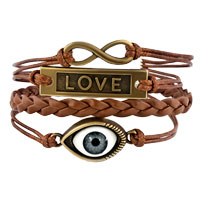 Bracelets - EVIL EYE SIDEWAYS INFINITY BRACELETS LOVE COFFEE BROWN BRAIDED LEATHER ROPE BANGLE BRACELET alternate image 1.