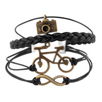 Man's Jewelry - CAMERA SIDEWAYS INFINITY BRACELETS BICYCLE BLACK BRAIDED LEATHER ROPE BANGLE BRACELET alternate image 1.