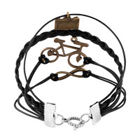 Man's Jewelry - CAMERA SIDEWAYS INFINITY BRACELETS BICYCLE BLACK BRAIDED LEATHER ROPE BANGLE BRACELET alternate image 2.