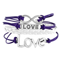 Bracelets - LOVE SIDEWAYS INFINITY BRACELETS PURPLE BRAIDED LEATHER ROPE BANGLE BRACELET alternate image 1.