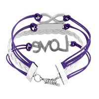 Bracelets - LOVE SIDEWAYS INFINITY BRACELETS PURPLE BRAIDED LEATHER ROPE BANGLE BRACELET alternate image 2.