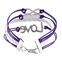 Bracelets - LOVE SIDEWAYS INFINITY BRACELETS PURPLE BRAIDED LEATHER ROPE BANGLE BRACELET alternate image 2.