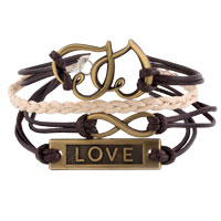 Man's Jewelry - HEART LOVE SIDEWAYS INFINITY BRACELETS BROWN BRAIDED LEATHER ROPE BANGLE BRACELET alternate image 1.
