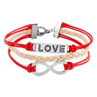 Bracelets - LOVE SIDEWAYS INFINITY BRACELETS RED BRAIDED LEATHER ROPE BANGLE BRACELET alternate image 1.