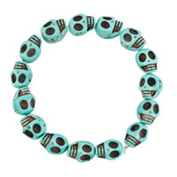 Man's Jewelry - HOWLITE TURQUOISE ELASTIC GOTHIC SKULL BRACELET BEADS BUDDHIST PRAYER alternate image 1.
