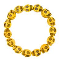 Man's Jewelry - HOWLITE LEMON YELLOW TURQUOISE ELASTIC GOTHIC SKULL BRACELET BEADS BUDDHIST PRAYER alternate image 1.