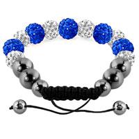 Bracelets - SHAMBALLA BRACELET SAPPHIRE BLUE CHARM DISCO BALLS LACE ADJUSTABLE alternate image 1.