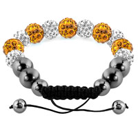 KSEB SHEB Items - SHAMBALLA BRACELET TOPAZ YELLOW CHARM SILVER CRYSTAL DISCO BALLS LACE ADJUSTABLE alternate image 1.