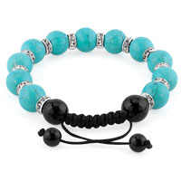 KSEB SHEB Items - SHAMBALLA BRACELET TURQUOISE CHARM SILVER CRYSTAL DISCO BALLS LACE ADJUSTABLE alternate image 1.