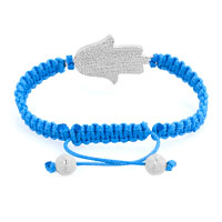 Bracelets - NEW JEWELRY BLUE LACE SILVER ICED OUT SIDEWAYS HAMSA HAND MACRAME BRACELET alternate image 1.
