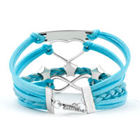New Arrivals - SILVER P DREAM HEART STARS BLUE TURQUOISE LEATHER INFINITY BRACELET alternate image 2.