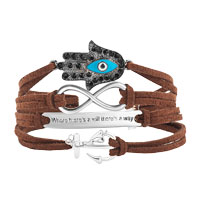 New Arrivals - EVIL EYES SILVER P ANCHOR COFFEE LEATHER MULTILAYER INFINITY BRACELET alternate image 1.