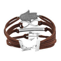 New Arrivals - EVIL EYES SILVER P ANCHOR COFFEE LEATHER MULTILAYER INFINITY BRACELET alternate image 2.