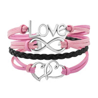 New Arrivals - SILVER PLATED LOVE DOUBLE HEARTS PINK BLACK LEATHER CHARMS BRACELET alternate image 1.