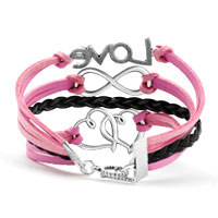 New Arrivals - SILVER PLATED LOVE DOUBLE HEARTS PINK BLACK LEATHER CHARMS BRACELET alternate image 2.