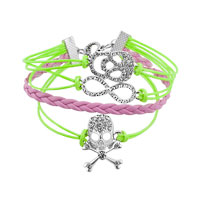 Bracelets - JEWELRY VINTAGE ICED OUT SILVER INFINITY BRACELET SKULL GREEN PINK LEATHER ROPE alternate image 1.