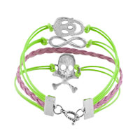 Bracelets - JEWELRY VINTAGE ICED OUT SILVER INFINITY BRACELET SKULL GREEN PINK LEATHER ROPE alternate image 2.