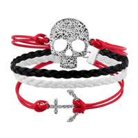 Bracelets - JEWELRY VINTAGE ICED OUT SILVER ANCHOR BRACELET SKULL WHITE BLACK LEATHER ROPE alternate image 1.